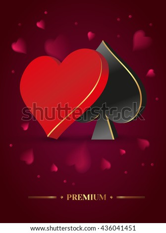 Vector illustration on a casino theme. preference symbols and cards. Background dark red cloth for casino.