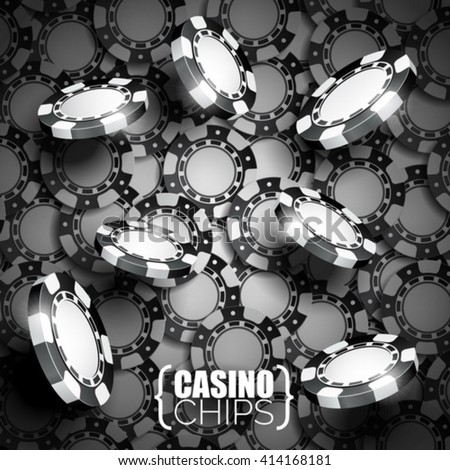 Vector illustration on a casino theme with black playing chips. Eps 10 design. - stock vector