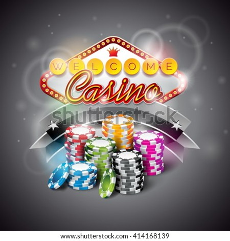 Vector illustration on a casino theme with color playing chips and lighting display dark background. Eps 10 design. - stock vector