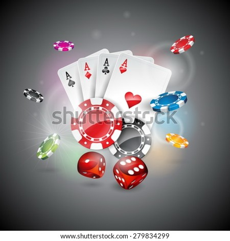 Vector illustration on a casino theme with color playing chips and poker cards on shiny background. Eps 10 design. - stock vector