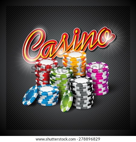 Vector illustration on a casino theme with color playing chips on dark background. Eps 10 design. - stock vector