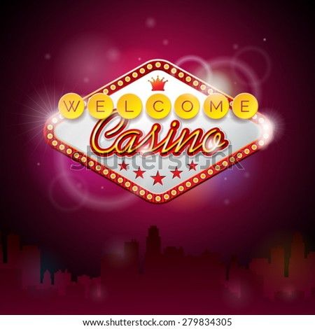 Vector illustration on a casino theme with lighting display and welcome text on purple background. Eps 10 design. - stock vector