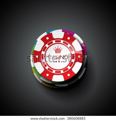 Vector illustration on a casino theme with playing chips. Eps 10 design. - stock vector
