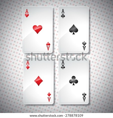 Vector illustration on a casino theme with playing poker cards. Poker aces set template. Eps 10 design. - stock vector