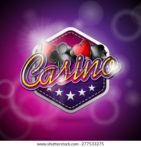 Vector illustration on a casino theme with poker symbols and shiny texts on abstract background. EPS 10 design