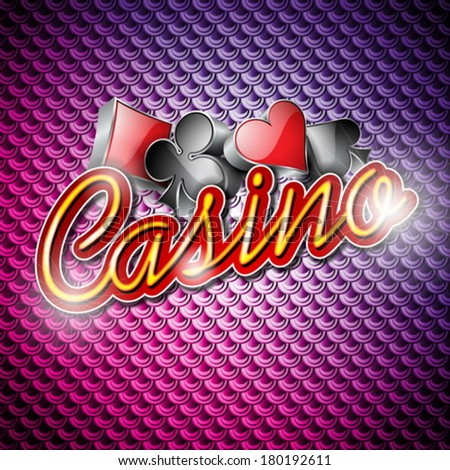 Vector illustration on a casino theme with poker symbols and shiny texts on abstract pattern background. EPS 10 design  - stock vector