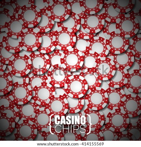 Vector illustration on a casino theme with red playing chips. Eps 10 design. - stock vector