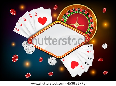 Vector illustration on a casino theme with roulette wheel and playing chips on dark background.