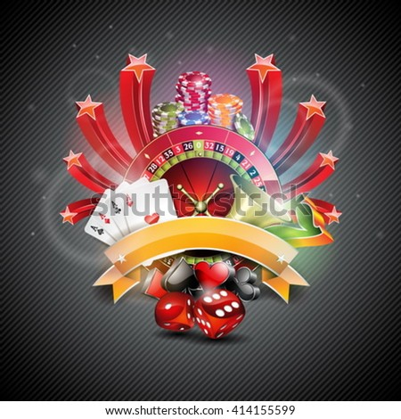 Vector illustration on a casino theme with roulette wheel and poker cards on dark background. Eps 10 design. - stock vector