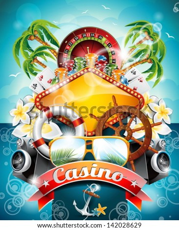 Vector illustration on a casino theme with roulette wheel and ribbon on tropical background. EPS 10 design. - stock vector