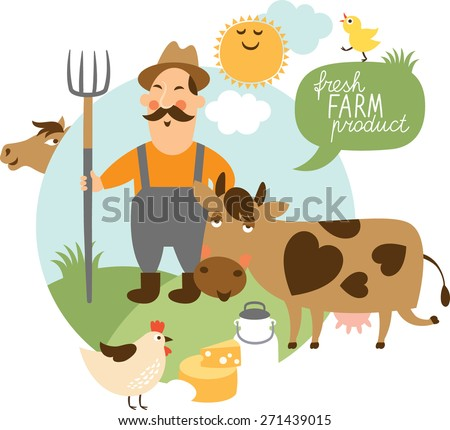 vector illustration on a farming theme - stock vector