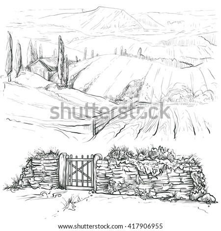 Vector illustration on a graphic tablet. Hand drawing.Set for the rural landscape. - stock vector