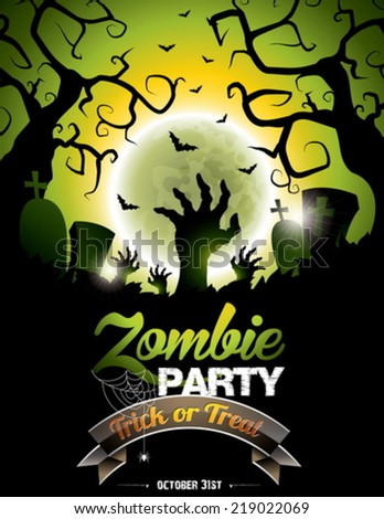 Vector illustration on a Halloween Zombie Party theme on green background. EPS 10 illustration - stock vector