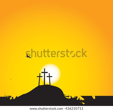 vector illustration on Christian themes with three crosses on Mount Calvary