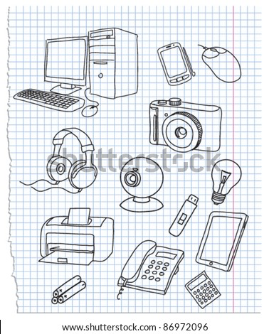 Vector illustration on electronics theme - stock vector