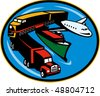 vector illustration on land, sea, and air freight, transportation and travel. - stock vector