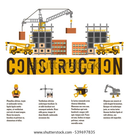 construction site crane lifting concrete slabs stock vector 539703919 shutterstock. Black Bedroom Furniture Sets. Home Design Ideas