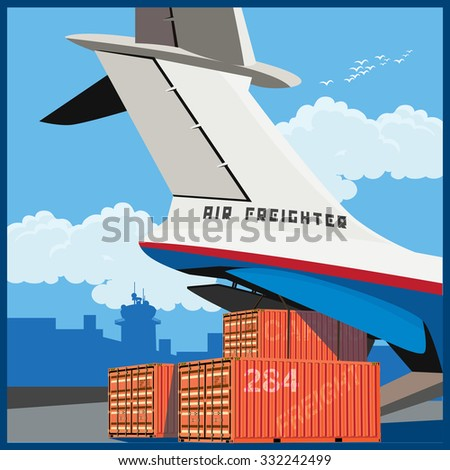 Vector illustration on the theme of air cargo. Loading of containers on board the cargo plane - stock vector