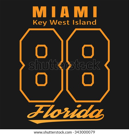 Vector illustration on the theme of Miami, Florida, Key West Island. Retro design, vintage style. Typography, t-shirt graphics, poster, banner, flyer, postcard