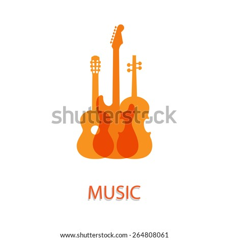 Vector illustration on the theme of music - stock vector