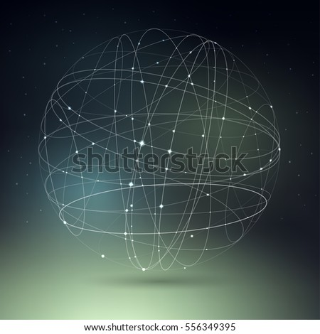 Vector illustration on the theme of physics, atomic nucleus, cosmos, astronomy. The structure of curve intersecting lines in the form of sphere on cosmic gradient mesh background.