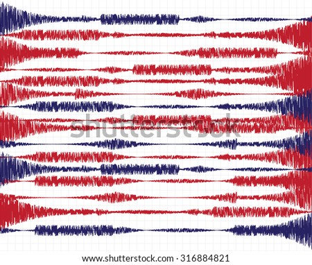 Vector illustration on the theme of seismic activity, oscillations and waves - stock vector