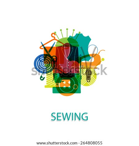 Vector illustration on the theme of sewing