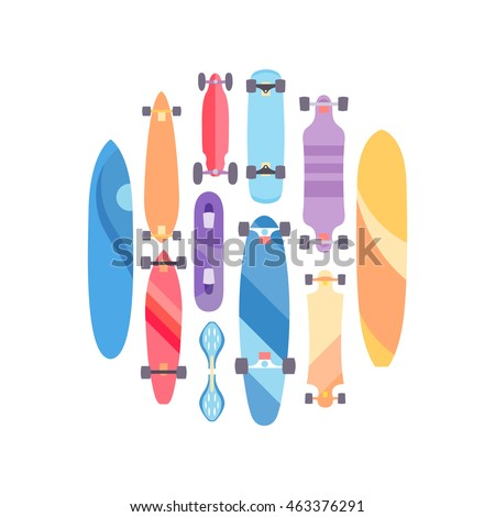 Vector illustration on the theme of skateboard and skateboarding