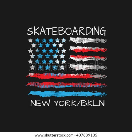 Vector illustration on the theme of skateboard and skateboarding in New York, Brooklyn. Stylized American flag. Grunge design. Typography, t-shirt graphics, poster, print, banner, flyer, postcard - stock vector