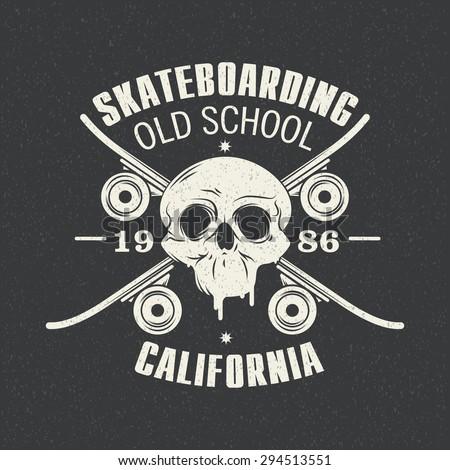 Vector illustration on the theme of skateboarding - stock vector
