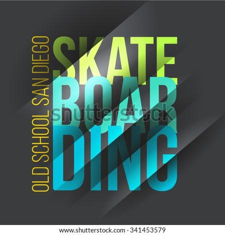 Vector illustration on the theme of skateboarding. - stock vector
