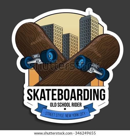 Vector illustration on the theme of skateboarding. logo - stock vector