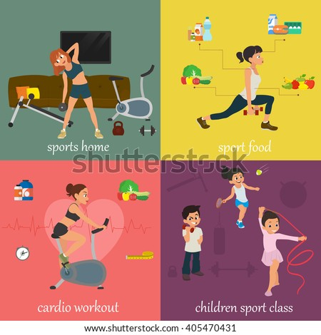 Vector illustration on the theme of sports and fitness. children are engaged in the sport class. Woman engaged in fitness. women involved in fitness at home and in the gym. sports food. - stock vector