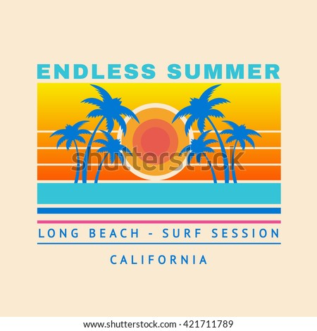 Vector illustration on the theme of surf and surfing in California, Long beach. Typography, t-shirt graphics, poster, banner, flyer, postcard