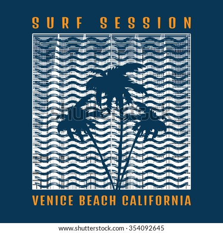 Vector illustration on the theme of surf and surfing in Venice beach, California. Grunge style. Typography, t-shirt graphics, poster, banner, flyer, postcard - stock vector