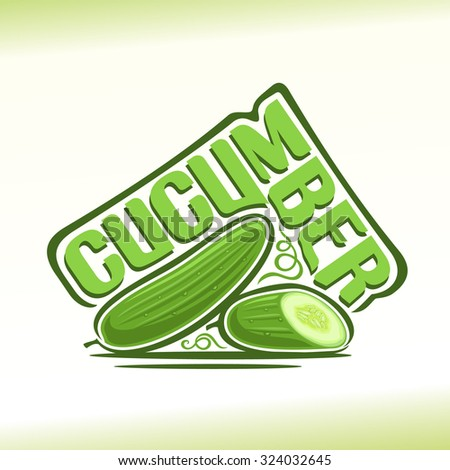 Vector illustration on the theme of the logo for cucumber still life composition, consisting of ripe green cut half cucumber and fresh juicy slice of vegetable