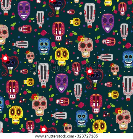 Vector illustration on the theme of the Mexican holiday Day of the Dead (Dia de Muertos) , creative pattern - stock vector