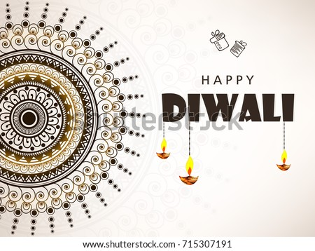 Vector illustration on the theme of the traditional celebration of happy deepawali. light and fire festival with Creative floral frame and Traditional Diya / illuminated lamp with text happy diwali