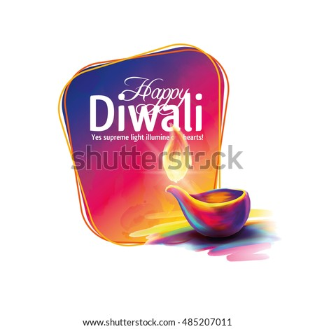 Vector illustration on the theme of the traditional celebration of happy diwali. Deepavali light and fire festival. ALSO HAVE VIDEO GRAPHICS