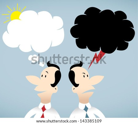 Vector illustration on two people in good mood and bad mood - stock vector