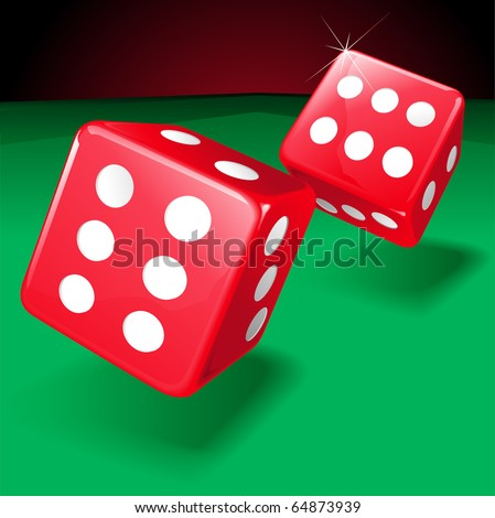 Vector illustration on two rolling dice showing two lucky sixes - stock vector