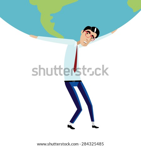 Vector illustration on white background featuring sad businessman with glasses and tie holding a heavy globe overhead - stock vector