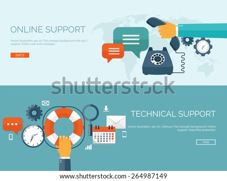 Vector illustration. Online support concept background. 24/7. Contact us. - stock vector