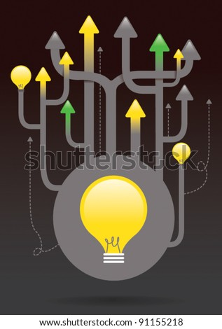 vector illustration or bright or good idea concept 2 - stock vector