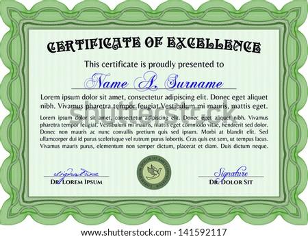 Vector illustration green horizontal certificate diploma stock vector illustration or green horizontal certificate diploma or coupon template very complex border design yadclub Image collections
