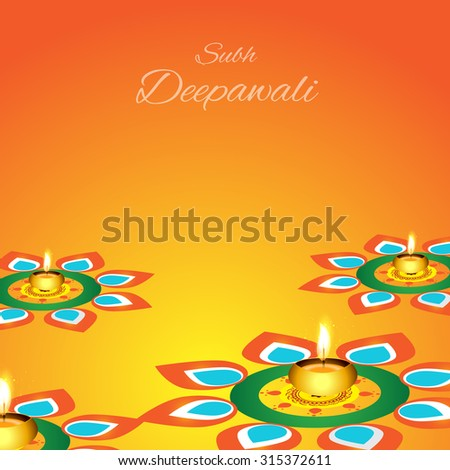 Vector Illustration or Greeting Card For Diwali.