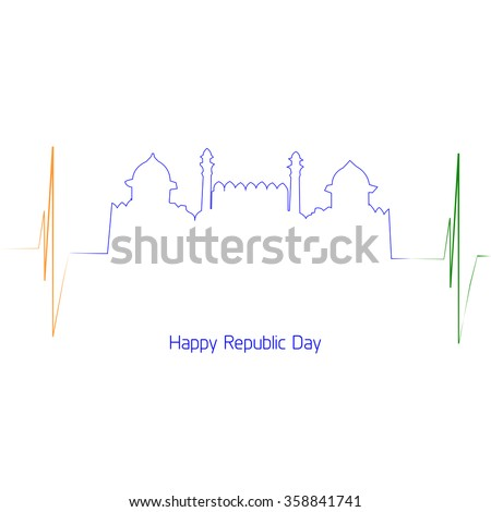 Vector Illustration or greeting for Republic day India, 26 January. - stock vector