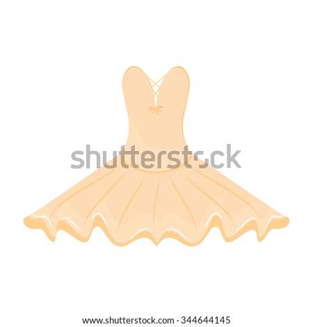 Vector illustration orange ballet dress. Ballet tutu for ballerina.  - stock vector
