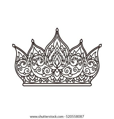 vector illustration outline crown coloring page abstract hand drawing - Crown Coloring Pages