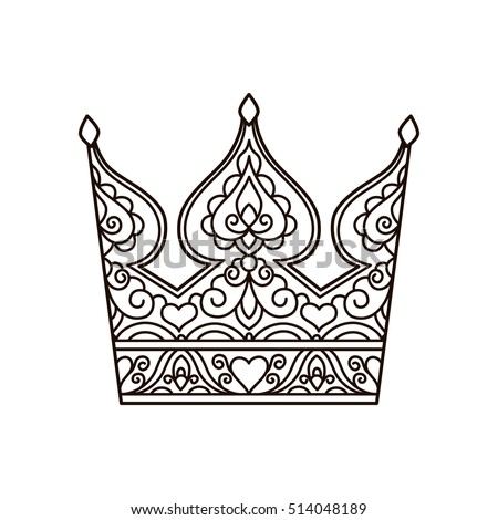 vector, illustration, outline, lace pattern, crown, coloring page, abstract, print, hand-drawing, doodle style